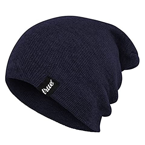 TRUE VISION Mens Navy Blue Beanie Hat - Wear as Slouch or Turn Cuff for Traditional Beanie Style - Soft & Comfortable One Size Fit - Winter Warm Knitted Acrylic - Unisex - Suitable for Men & Women