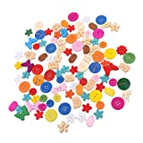 #9: Magideal 100pcs Mixed Shape Wooden Buttons Sewing Scrapbooking Decoration