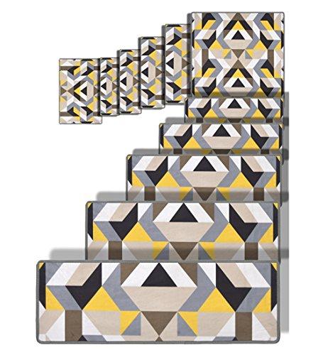 ZENGAI Selbstklebend Treppe Stufenmatten 11er SparSet Massivholz Haushalt Modern Drehen Steppmatte Voller Laden Schutzpolster, 8 Farben, 4 Größen Treppen Teppich
