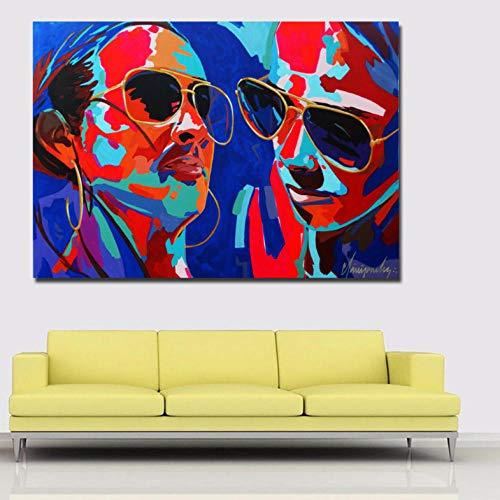 Kunst Porträt Ölgemälde Moderne Abstrakte Malerei Gedruckt Auf Leinwand Poster Wandkunst Für Wohnzimmer Dekor 60X85 cm ()