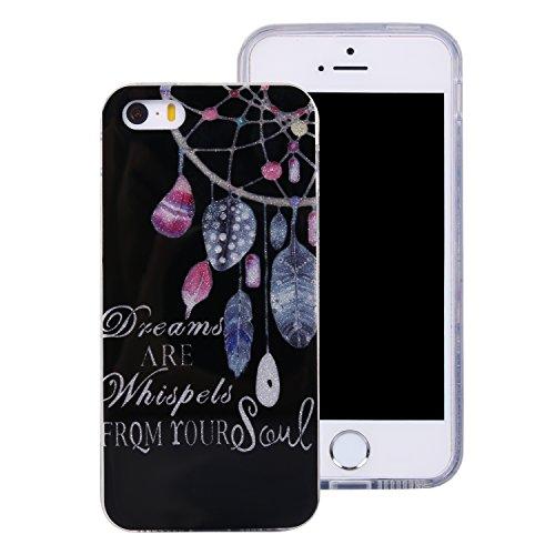 iphone 5 Hülle,Bunt Mandala Muster Design für iphone 5 5s se , E-lush TPU Dünn Transparent Silikon Schutzhülle Kristallklar Durchsichtig Kratzfeste Handyhülle Ultra Chic Thin Weich Tasche Rückschale E traumfänger