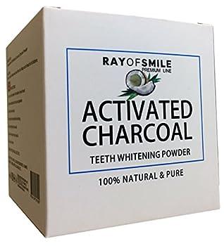 CHARBON ACTIF | Premium Coconut Active Carbon 100% Natural | pour Blanchiment des Dents au Charbon Activé | SANS Produits Chimiques & Additifs Synthétiques | des Dents Blanches | RAY OF SMILE Premium Line