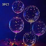 Slopow Palloncini LED Bobo Palloncino Trasparente 5 Pezzi con LED Luce per Festa Compleanni Matrimoni Natale Decorazioni Vacanze