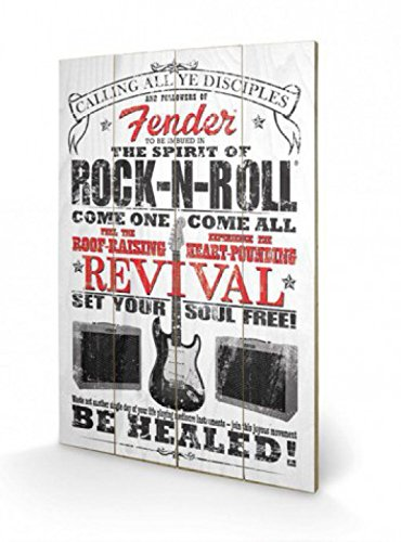 1art1 79511 Fender - The Spirit Of Rock N' Roll Poster Auf Holz 60 x 40 cm (Bilder Fender)