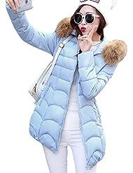 SaiDeng Abrigo De Invierno Con Capucha Para Ligero Senderismo Para Mujer Cielo Azul 2XL