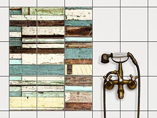 Dekofolie Fliesen aufkleben | Muster-Fliesenfolie Badezimmerfliesen Küchengestaltung | 20x25 cm Design Motiv Schiffsbruch - 9 Stück