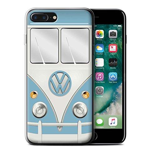 Stuff4 Gel TPU Hülle / Case für Apple iPhone 7 Plus / Titan Rot Muster / Retro T1 Wohnmobil Bus Kollektion Fjord Blau