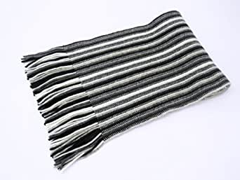 2 ply Pure Cashmere Ladies Stripe Scarf, Black