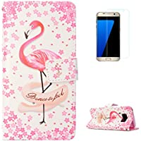 KaseHom Samsung Galaxy S8 + [Protector de Pantalla] Dibujos Animados Estuche Billetera de Cuero Folio con Ranuras para Tarjetas y Cubierta Flip magnética Slim Anti-Arañazos Case - Flamencos