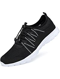 3f5a45684ad2 Ritiriko Women Ladies Trainers Road Running Shoes Athletic Sneakers for  Walking Gym Sport Black White