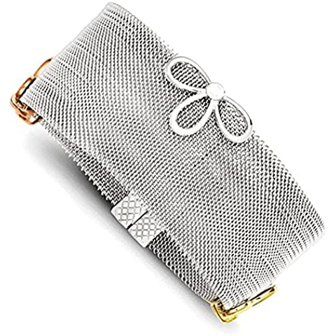 Stainless Steel & Sterling Silver Tri-Color Vermeil CZ Bracciale