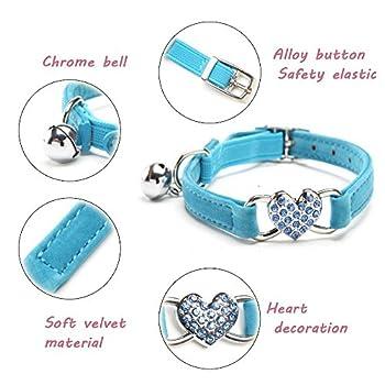 ?Chiens et chats petits colliers pour animaux de compagnie Bell pari collier belle cordiformes Diamond Pet collier ajustable violet