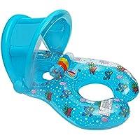 FuXing Anillo de Natación para Bebé Niños con Asiento Inflable Flotador Barco de Natación con Quitasol Piscina Agua Juguete