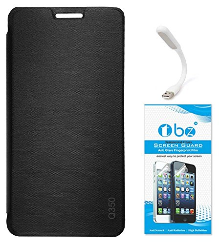 TBZ Flip Cover Case for Micromax Canvas Spark 2 Plus Q350 with Flexible USB LED Light Lamp and Tempered Screen Guard -Black