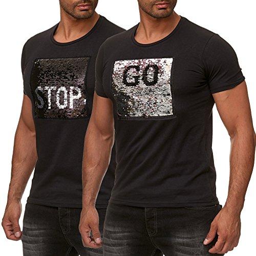 Red Bridge Herren T-Shirt Wende-Pailletten Emoji Stop & Go Shirt Schwarz M