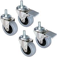 Emuca 2037121 Lote de 4 ruedas pivotantes para mueble Ø50mm con perno M8x15 y rodamientos de bolas