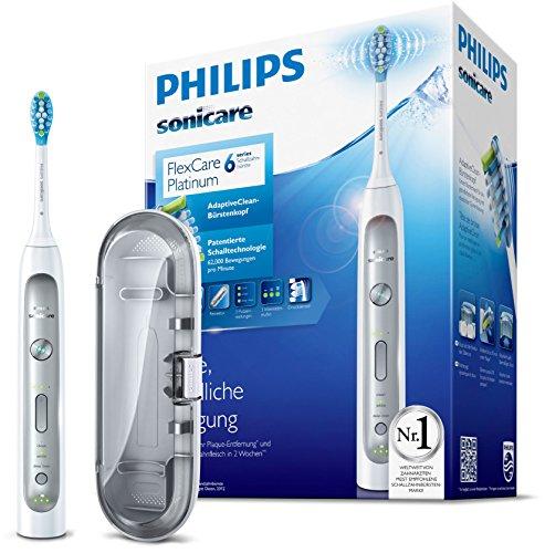 Philips Sonicare HX9111/20 FlexCare Platinum Elektrische Zahnbürste mit Schalltechnologie, weiß