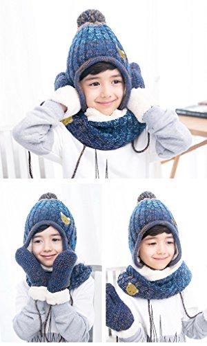 Bigood Bonnet Echarpe Gants Enfant Bébé Ensemble 3 Pièces Chapeau Cache Oreilles Cou Calotte Chauffant Bleu Ours