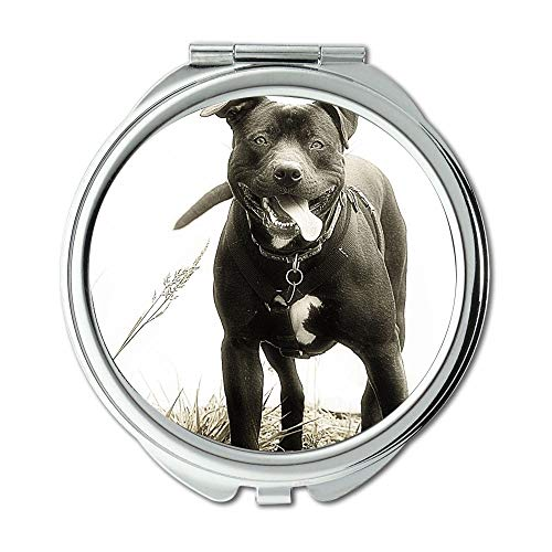 Yanteng Spiegel, runder Spiegel, Rottweiler Hündchen Pitbull Hund, Taschenspiegel, 1 X 2X Vergrößerung