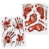 com-four® 18-teiliges Halloween-Set statisch haftende Fensterbilder, Selbstklebende Fensterdeko mit blutigen Hand- und Fuß-Motiven (18 teilig - Halloween Hand Fuß Fensterbild)