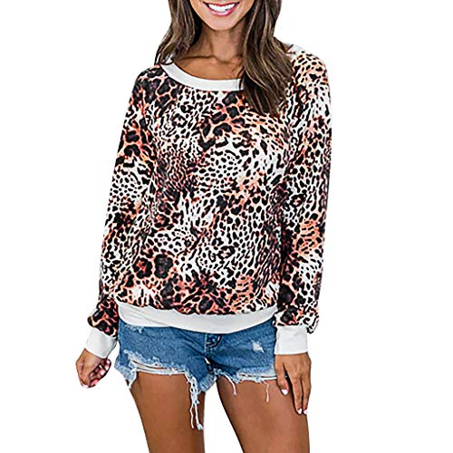GreatestPAK Damen Einfarbig Langarm Perlenstickerei Sweatershirt Oberteile Rundhalsausschnitt Pullover Sweatshirt,Kaffee,XL