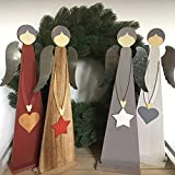 Deko ENGEL Holz 38 cm Christmas Weihnachten XMAS Holzengel Nostalgie Shabby (weiß)