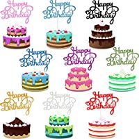 45 Pieces Birthday Cake Topper Happy Birthday Cupcake Pick for Party Decoration