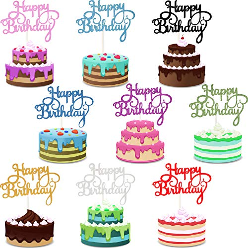 Yaomiao 45 Stücke Geburtstagstorte Topper Happy Birthday Cupcake Pick für Party Dekoration