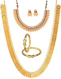 Zeneme Gold Plated Kundan Polki Designer Bangles, Long Traditional Maharani Temple Coin And Red Temple Coin Necklace...