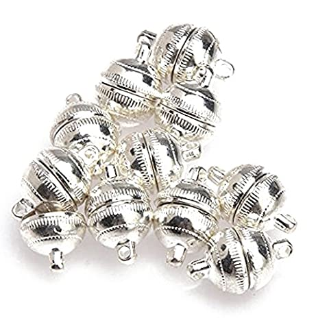 SODIAL(R) 10pcs Silver Plated Strong Magnetic Clasps Round 10mm for