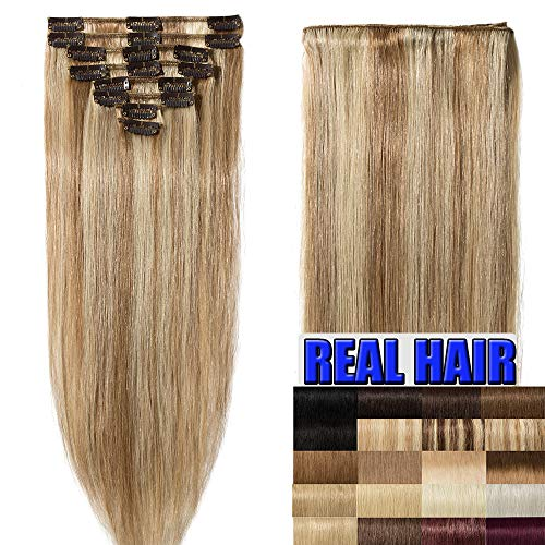 Clip In Extensions Echthaar 55cm - Remy Haarverlängerung 8 Tressen 75g - (#12/613 Light Golden Brown/Bleach Blonde)