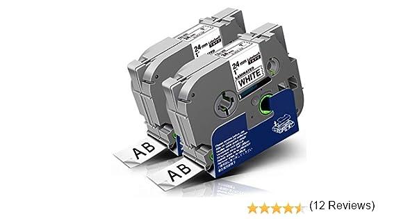 5x Compatibile Nastro Cassette Etichette Brother P-Touch TZe-251 TZ-251 TZ251 Nero su Bianco 24mm x 8m con Tze Tape Brother P-Touch P700 PT-2430PC