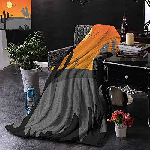 Ducan Lincoln Blanket Flanell Fleece Decke Cartoon Hot Mexiko Wüstenlandschaft Mit Saguaro Kaktus Und Reiter Super Soft Cosy Warm Plüsch,127x102 cm