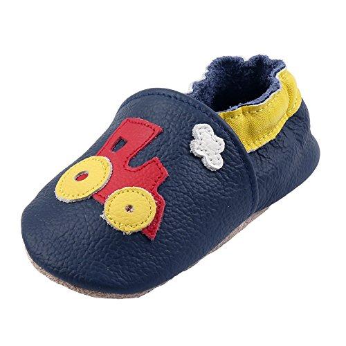 iEvolve Baby Mädchen Jungen Sterne Babyschuhe Baby Weiche Sohle Lederschuhe Baby Lauflernschuhe Krabbelschuhe(Marineblau Zug,6-12 Monate)