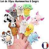 Juegos Marionetas - 10pcs marionetas de dedos - Animales con todo lo diferentes - Elefante tortuga ratón vaca perro - Crear jugar divertirse con felpa de dedo - Nueve