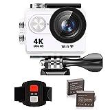 IXROAD Action Cam 4K Ultra HD WiFi Sport Camera Fotocamera Videocamera Telecamere Subacquea Sportive con Schermo LCD da 2 Pollici, Grandangolo da 170°, 2 Batteria, Telecomando, Kit Accessori (Bianco)