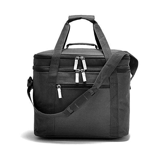 18l cooler bag verschiedenen substanzen besteht großes auto eisbeutel teures picknick cooler bag essen reisen isolierte geschirr - paket Schwarz