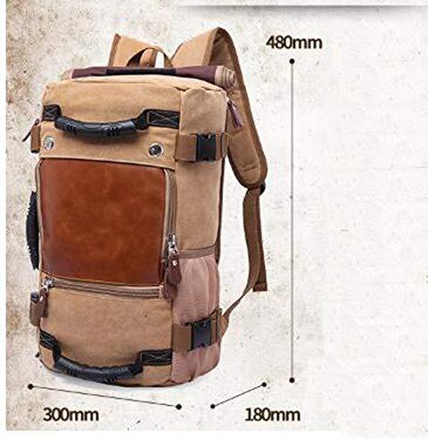 GAOQIAN Canvas Multifunktionsrucksack mit Schultergurt Hohe Kapazität für Männer Casual Hiking Travel Daypack,Khaki