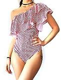 Enjoyoself Donna Costume da Bagno di Monospalla Sexy Intero con Scollo Asimmetrico Bikini Swimwear Beachwear