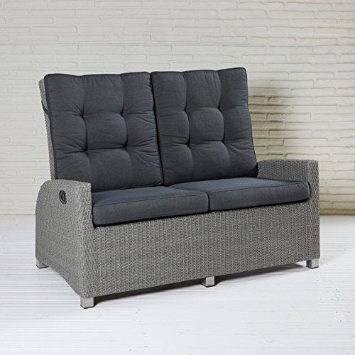 Modesto Living Zweisitzer Sofa Polyrattan Grau Gartenmöbel Loungemöbel