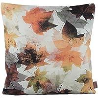 Kissenhülle Herbst Leinenoptik bestickt Kissenbezug Deko Kissen 40x40 cm braun