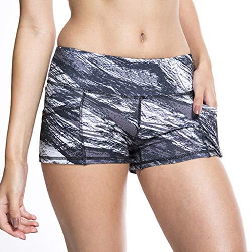 MOTOCO Damen Sommer Short Leggings Kausal Hohe Taille Eng anliegender Druck Hüftgymnastik/Jogging Yoga Short(M(36),Schwarz-2)