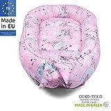 PALULLI Babynest, Babynestchen Kuschelnest 2-seitig, Kokon, Nestchen, Babybett, Reisebett für Neugeborene, 100% Baumwolle OEKO-TEX, HERGESTELLT IN DER EU, 0-8 monate hypoallergisch (Rosa Pony)