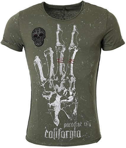 Key Largo Herren T-Shirt Hand mit Skull California Print Stick Patch Motiv Vintage Look Tiefer Rundhals Ausschnitt taillierte Körperbetonte Passform MT00116, Grösse:S;Farbe:Oliv