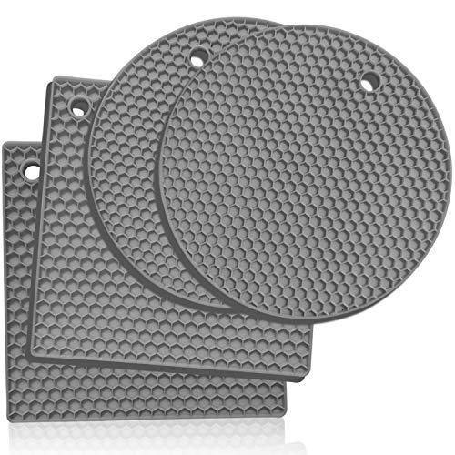 Silikon -Untersetzer: 4er set Topf-Halter und Untersetzer - Ofenhandschuhe,Hitzebeständiges Topflappen-Set für warme Speisen - Küchen-Topflappen, Glasöffner, Löffelhalter, Topfuntersetzer - Hellgrau