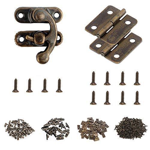 Dailin Antik-Bronze-Mini-Scharniere und 25 Sets, Antik-Optik, rechts, Riegelhaken, Verriegelung mit 300 Ersatzschrauben, bronzefarben