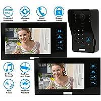 "KKmoon 7"" Timbre Intercomunicador Video Portero (1000TVL Cámara de Vigilancia, 2 Monitor, 5 Modos, 5 Tarjeta ID, Controlador Remoto, Visión Nocturna)"