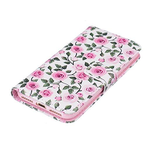 Qiaogle Téléphone Coque - PU Cuir rabat Wallet Housse Case pour Apple iPhone 5C (4.0 Pouce) - XIS27 / Feuilles et fleurs vertes XIS27 / Feuilles et fleurs vertes