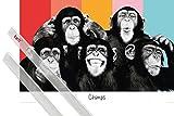 1art1 Poster + Hanger: Affen Poster (91x61 cm) Bunte Affen-Bande Inklusive Ein Paar Posterleisten, Transparent