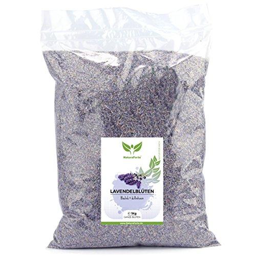 NaturaForte Lavendelblüten 1kg Lavendel ohne Zusätze 1000g - Bläulich - Intensiver Duft - Getrocknete Lavendel Blüten - Für Duftkissen, Lavendeltee oder Lavendelsäckchen - Potpourri Duft (Potpourri Duft-Öl)